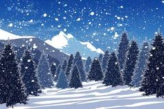森林多雪的冬天 向量例证