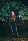 森林小河的美丽的中世纪妇女 免版税库存照片