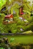 森林居民友好的生活在他们的家跟随青苔 儿童` s拼贴画关于动物生活  库存图片