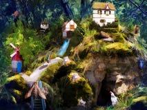 森林居民童话生活  免版税库存照片