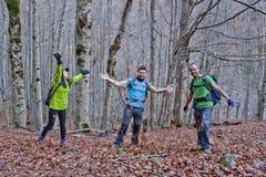森林投掷的叶子的三个人 图库摄影
