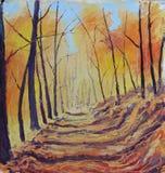 森林撒布与黄色叶子,油画 免版税库存照片
