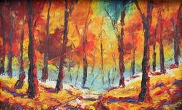森林撒布与黄色叶子 免版税库存图片