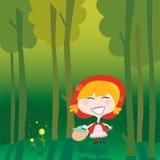 森林敞篷少许红色骑马 库存图片
