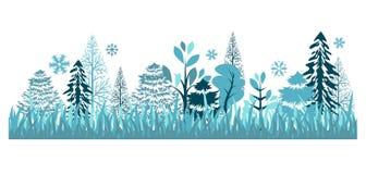 森林模式无缝的冬天 免版税库存照片