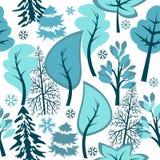 森林模式无缝的冬天 免版税库存图片