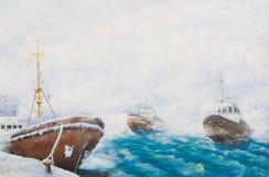 森林横向油画河 在口岸的渔拖网渔船 免版税库存照片