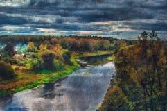 森林横向油画河 看法向河 免版税库存图片