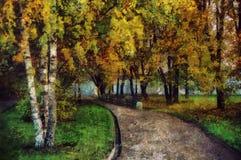 森林横向油画河 秋天路通过公园 库存图片