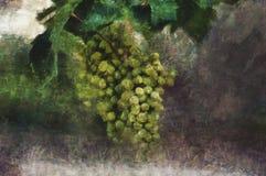 森林横向油画河 绿色葡萄刷子  免版税图库摄影