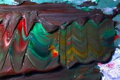 森林横向油画河 库存图片