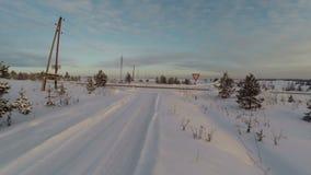 森林横向雪冬天 鸟瞰图飞过 股票录像