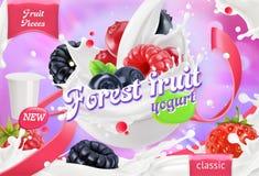 森林水果酸牛奶 混杂的莓果和牛奶飞溅 3d向量 皇族释放例证