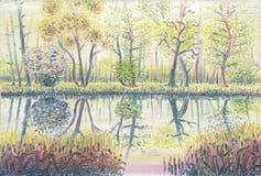 森林池塘在春天 在画布的油画 免版税库存图片