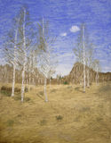 森林油画 免版税图库摄影