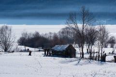 森林湖平安的场面冬天木头 在水坝附近的小村庄在一个晴朗的冬日 斯诺伊童话在保加利亚 免版税库存图片