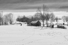 森林湖平安的场面冬天木头 在水坝附近的小村庄在一个晴朗的冬日 斯诺伊童话在保加利亚 免版税图库摄影