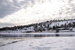 森林湖时间冬天 常青木头和岸在雪 库存照片
