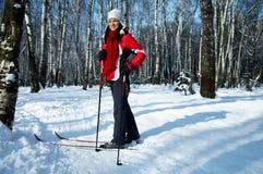 森林滑雪 图库摄影