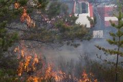 森林火灾和紧急serviss 免版税库存图片