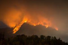 森林火灾,湖诱剂,北卡罗来纳 免版税库存照片