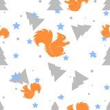 森林灰鼠和杉树白色无缝的样式 向量背景 免版税图库摄影