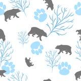 森林熊和树枝无缝的样式 向量背景 库存照片