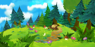 森林的动画片背景 免版税库存图片