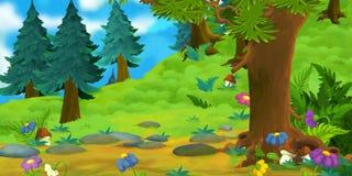 森林的动画片背景 免版税库存照片