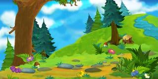 森林的动画片背景 库存图片