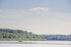 森林美丽如画的河 库存图片