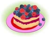 森林莓果蛋糕传染媒介 库存图片