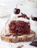 黑森林蛋糕,装饰用被鞭打的奶油和樱桃Schwarzwald饼 免版税库存照片