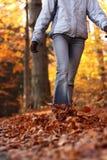 森林走的妇女年轻人 免版税库存照片