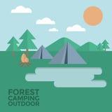 森林野营的室外传染媒介例证 免版税库存照片
