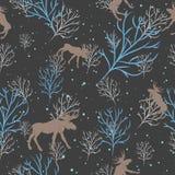 森林鹿和雪树无缝的样式 向量背景 免版税库存图片