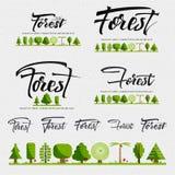 森林-徽章,贴纸可以用于设计网站,衣裳,做广告 库存例证