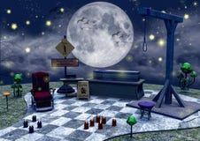 棺材、毒物蘑菇、蜡烛和绞架的黑暗的童话场面 库存图片