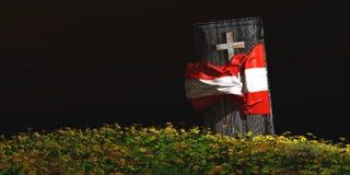 棺材的例证有旗子的 库存图片