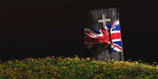 棺材的例证有旗子的 免版税库存照片
