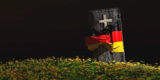 棺材的例证有旗子的 图库摄影