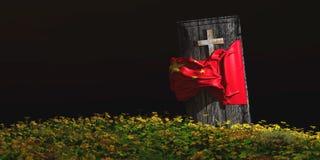 棺材的例证有旗子的 免版税图库摄影