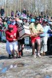 棺材种族-结冰的死的人天 免版税图库摄影