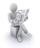 椅子人报纸读取开会 库存图片