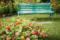 椅子位子在一个绿色公园 免版税库存照片