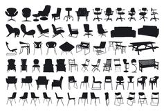 椅子剪影 库存例证