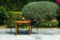 椅子和桌在庭院里 库存照片