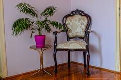 椅子和花盆 免版税库存图片