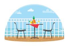 椅子和表在大阳台阳台餐馆视图的在海 丹麦海岛湖使通配本质海运小的潮汐wadden的水环境美化 菠萝 平的传染媒介 向量例证