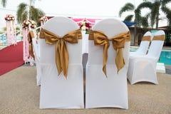 椅子在婚礼放 库存照片